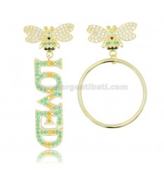 LOVED BEE EARRINGS IN TIT 925 GOLDEN SILVER AND COLORED ZIRCONS