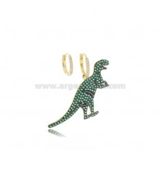 DINOSAUR EARRINGS IN SILVER SILVER TIT 925 AND GREEN ZIRCONIA