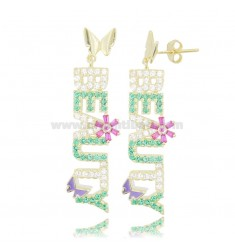 BEAUTY PENDANT EARRINGS IN SILVER GOLDEN TIT 925 AND COLORED ZIRCONIA