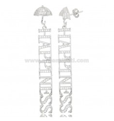 HAPPINESS PENDANT EARRINGS IN SILVER RHODIUM TIT 925 AND ZIRCONIA