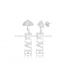 LOVE PENDANT EARRINGS IN SILVER RHODIUM TIT 925 AND ZIRCONS