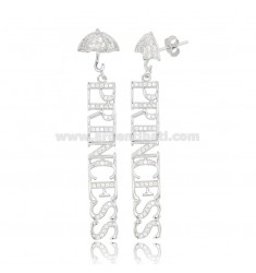 EARRINGS PENDANTS PRINCIPESS IN SILVER RHODIUM TIT 925 AND ZIRCONS