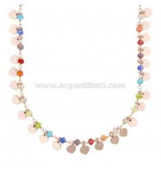 NECKLACE WITH HEARTS AND STONES IN SILVER ROSE TIT 925 ‰ CM 40-45