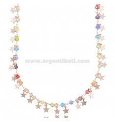 NECKLACE WITH STARS AND STONES IN SILVER ROSE TIT 925 ‰ CM 40-45