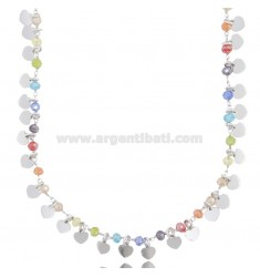 NECKLACE WITH HEARTS AND STONES IN SILVER RHODIUM TIT 925 ‰ CM 40-45