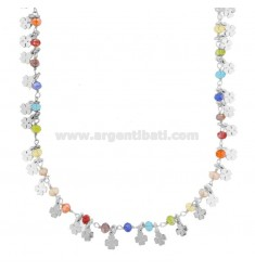 NECKLACE WITH QUADRIFOGLI AND STONES IN SILVER RHODIUM TIT 925 ‰ CM 40-45