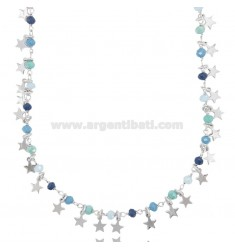 NECKLACE WITH STARS AND STONES IN SILVER RHODIUM TIT 925 ‰ CM 40-45