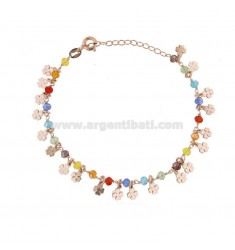 BRACELET WITH QUADRIFOGLI AND STONES IN ROSE SILVER TIT 925 ‰ CM 17-19