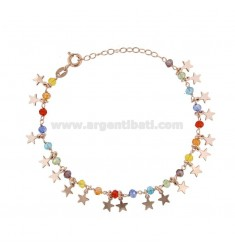BRACELET WITH STARS AND STONES IN ROSE SILVER TIT 925 ‰ CM 17-19
