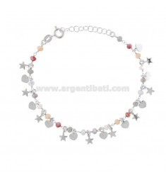 BRACELET WITH HEARTS, STARS AND STONES IN RHODIUM SILVER TIT 925 ‰ CM 17-19