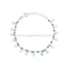 BRACELET WITH DISKETS AND STONES IN RHODIUM SILVER TIT 925 ‰ CM 17-19