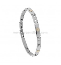 BRACELET IMPERNATED WITH HELMETS OF GOLD 750 AND STEEL BRASS CM 21