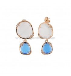 DOUBLE STONE EARRINGS SMALL REVERSE WHITE 8 AND BLUE COBALT 65 IN ROSE GOLD PLATED AG TIT 925 ‰ AND ZIRCONIA