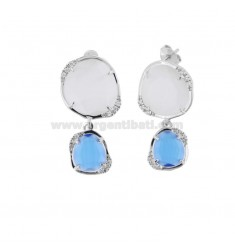 EARRINGS DOUBLE SASSO SMALL REVERSE WHITE 8 AND BLUE COBALT 65 IN SILVER RHODIUM TIT 925 ‰ AND ZIRCONIA