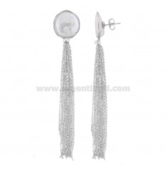PENDANT EARRINGS WITH PEARL IN RHODIUM SILVER TIT 925 ‰