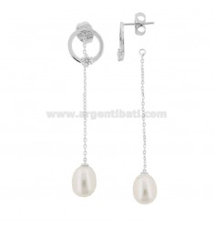 PENDANT EARRINGS WITH PEARL IN RHODIUM SILVER TIT 925 ‰ AND ZIRCONE