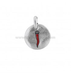 PENDANT 18 MM ROUND WITH HORN IN SILVER RHODIUM TIT 925 AND ENAMEL