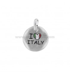 CIONDOLO TONDO MM 18 I LOVE ITALY IN ARGENTO RODIATO TIT 925 E SMALTO