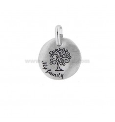 PENDANT 18 MM ROUND TREE OF LIFE MY FAMILY SILVER RHODIUM TIT 925 AND ENAMEL