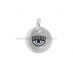 PENDANT 18 MM ROUND EYE RHODIUM SILVER TIT 925 ENAMEL AND ZIRCON