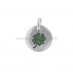PENDANT 18 MM ROUND QUADRIFOGLIO GOOD LUCK RHODIUM SILVER TIT 925 AND ENAMEL