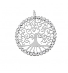PENDANT 30 MM ROUND WITH TREE OF LIFE IN SILVER RHODIUM TIT 925 ‰ AND STRASS