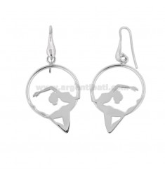 BALLERINA EARRINGS 33X22 MM IN SILVER RHODIUM TIT 925