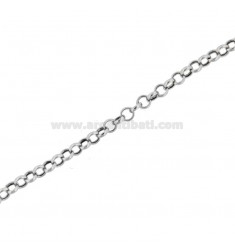 CHAIN METAL ROLO 'DIAMETER 3,4 MM THREAD 0,9 MM SILVER RHODIUM TIT 925 ‰ CM 50
