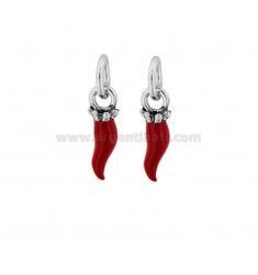 HORN PENDANT PZ 2 MM 18X5 SILVER microcast BRUNITO TIT 800 ‰ AND RED ENAMEL