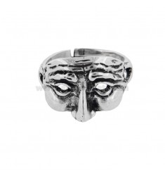 RING WITH PULCINELLA MASK IN BRUNITO SILVER TIT 800 ‰ ADJUSTABLE SIZE