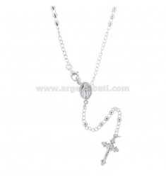 ROSARY NECKLACE WITH BALL FACED BY 3 MM 55 CM IN RHODIUM SILVER 925 ‰