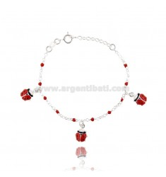 ROLO BRACELET 'WITH 3 COCCINELLE ENAMELLED PENDANTS IN SILVER TIT 925 CM 15-18