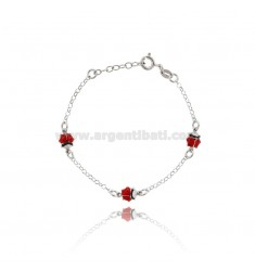 ROLO BRACELET 'WITH 3 LADYBIRDS ENAMELLED IN LINE IN SILVER RHODIUM TIT 925 CM 15-17