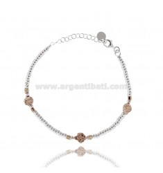 BRACELET WITH WASHERS IN SILVER AND COCCINELLE ROSE GOLD PLATED TIT 925 CM 17-20