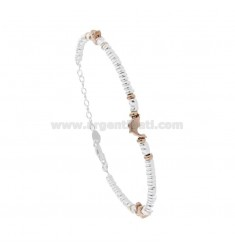 BRACELET WITH WASHERS IN SILVER AND DOLPHINS PLATED ROSE GOLD TIT 925 CM 17-20
