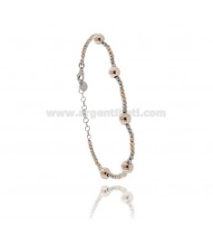 BRACELET WITH DIAMOND BALLS IN SILVER RHODIUM AND ROSE GOLD PLATED TIT 925 CM 17-20