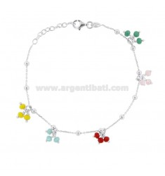 BRACELET FORZATINA WITH BOWS OF COLORED STONES IN SILVER RHODIUM TIT 925 CM 17-20