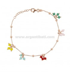 BRACELET FORZATINA WITH BOWS OF COLORED STONES IN SILVER ROSE TIT 925 CM 17-20