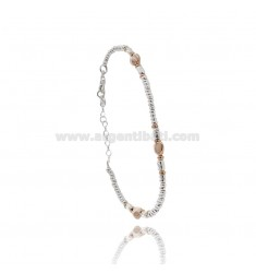 BRACELET WITH WASHERS IN SILVER WITH ROSE GOLD PLATED HEART TIT 925 CM 17-20