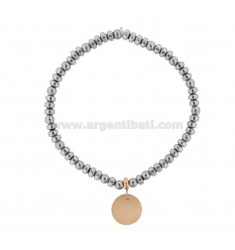 ELASTIC BRACELET WITH ROUND PENDANT MEDIUM IN TWO-COLORED STEEL