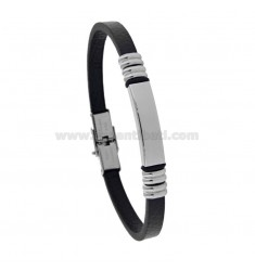 BRACELET WITH PLATE 8 MM IN STEEL AND BLACK LEATHER CM 21