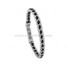 BRACELET IN STEEL AND LEATHER CM 20