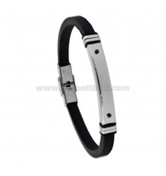 BRACELET WITH RUBBER PLATE AND STEEL WITH ZIRCONIA CM 20