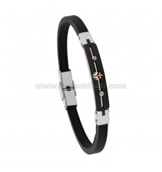 BRACELET IN TRICOLOR STEEL AND RUBBER WITH STILL CM 21