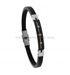 BRACELET IN TRICOLOR STEEL AND RUBBER WITH ROSE OF THE WINDS CM 21