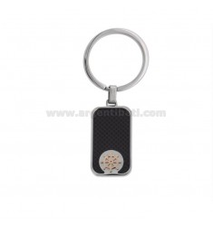 RECTANGULAR KEY RING WITH TWO-COLORED STEEL RUDDER AND CARBON FIBER