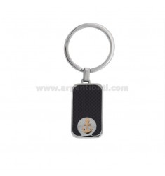 RECTANGULAR KEY RING WITH STILL IN TWO-COLORED STEEL AND CARBON FIBER