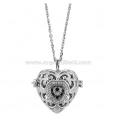 NECKLACE CABLE 90 CM WITH CALL ANGELS WITH STEEL HEART