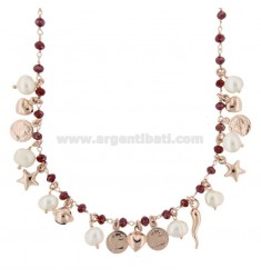 NECKLACE WITH COINS, STARS, CHARMS, STONES AND PEARLS PENDANTS IN SILVER ROSE TIT 925 ‰ CM 40-44