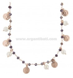 NECKLACE WITH COINS, STARS, STONES AND PEARLS PENDANTS IN SILVER ROSE TIT 925 ‰ CM 38-43
